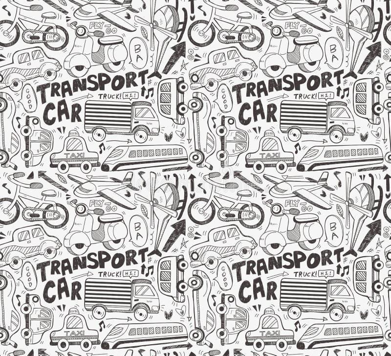 Modelo Inconsútil Del Transporte Del Doodle Imagenes de archivo