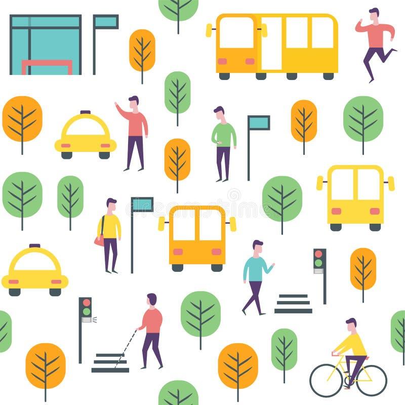 Modelo inconsútil del transporte Gente y vechicles del vector libre illustration