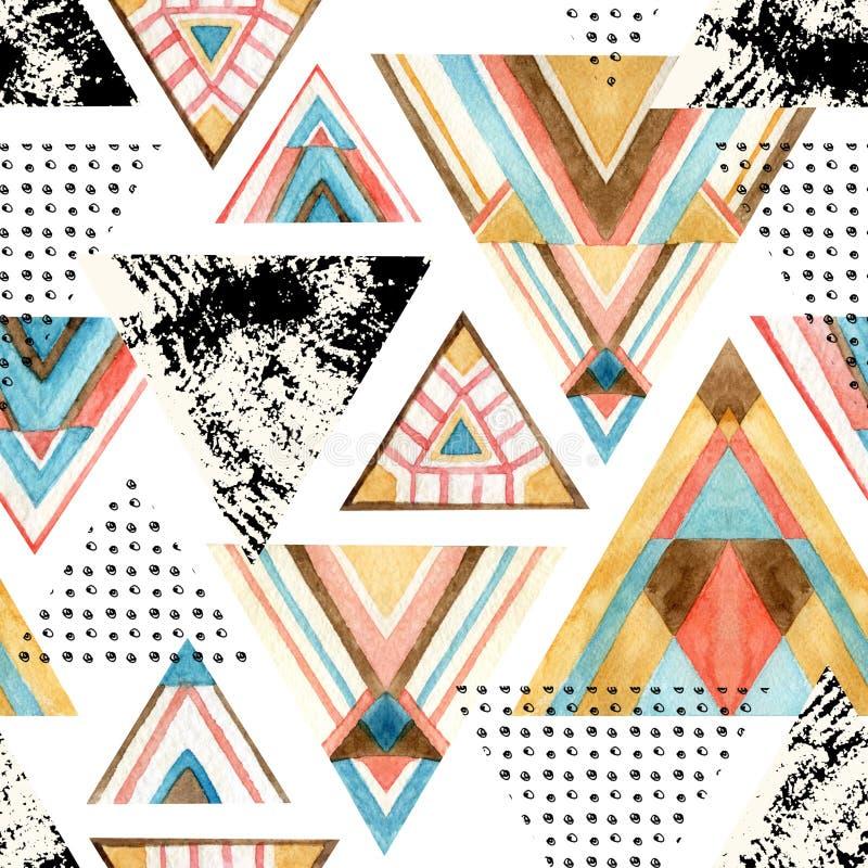 Modelo inconsútil del triángulo abstracto de la acuarela libre illustration