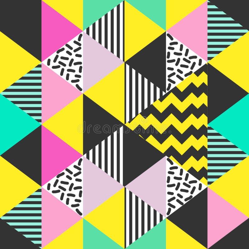 Modelo inconsútil del triángulo colorido con el ejemplo abstracto del vector de los colores en colores pastel ilustración del vector