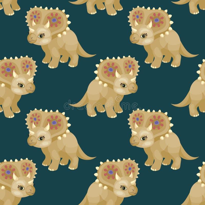 Modelo inconsútil del Triceratops stock de ilustración