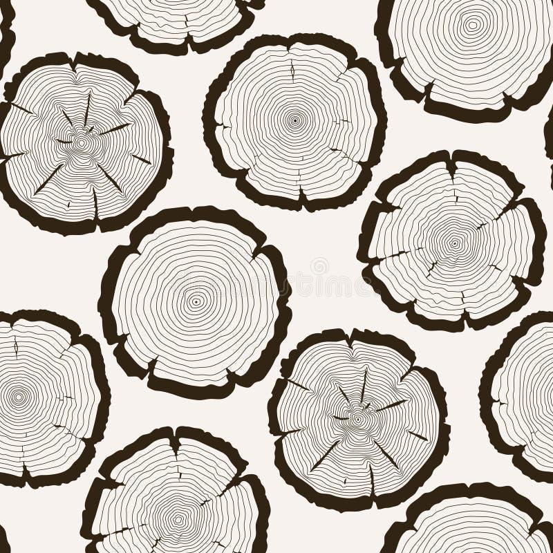 Modelo inconsútil del tronco del corte de los anillos de árbol del vector stock de ilustración