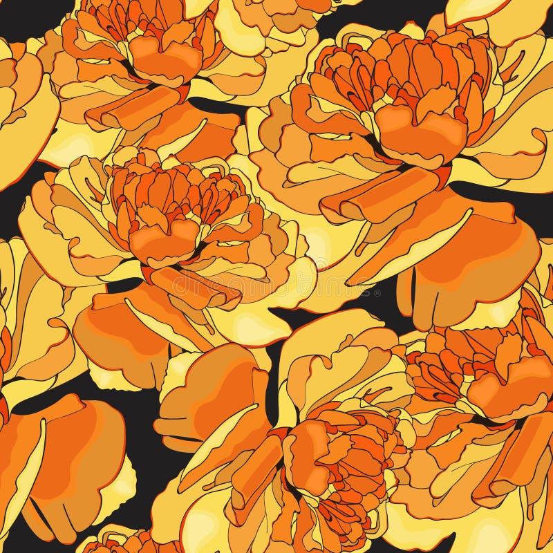 Modelo inconsútil del tulipán amarillo lindo de las flores para su diseño ilustración del vector