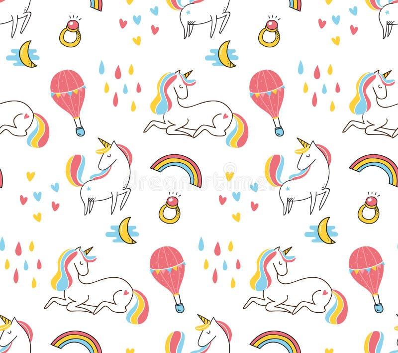 Modelo inconsútil del unicornio colorido lindo libre illustration