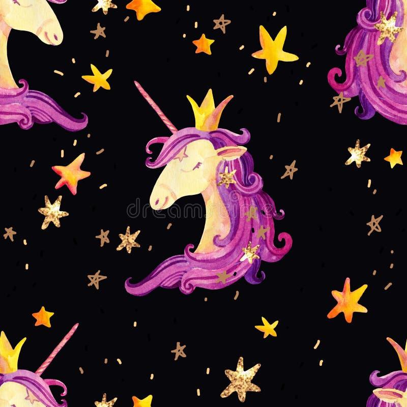 Modelo inconsútil del unicornio de la acuarela libre illustration