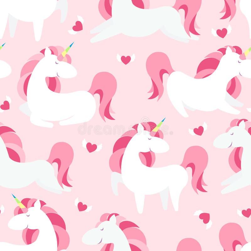 Modelo inconsútil del unicornio mágico Texturas sin fin del cuento de hadas moderno, fondos de repetición mágicos Contextos lindo libre illustration