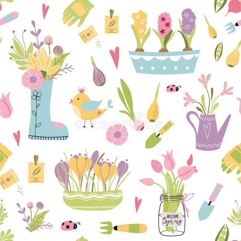 Modelo inconsútil del utensilio de jardinería Ejemplo del vector de los elementos que cultivan un huerto de la primavera Diseño f libre illustration