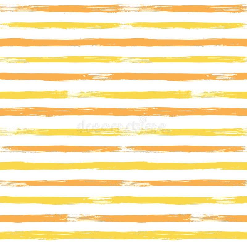 Modelo inconsútil del vector abstracto con amarillo y naranja rayada ilustración del vector