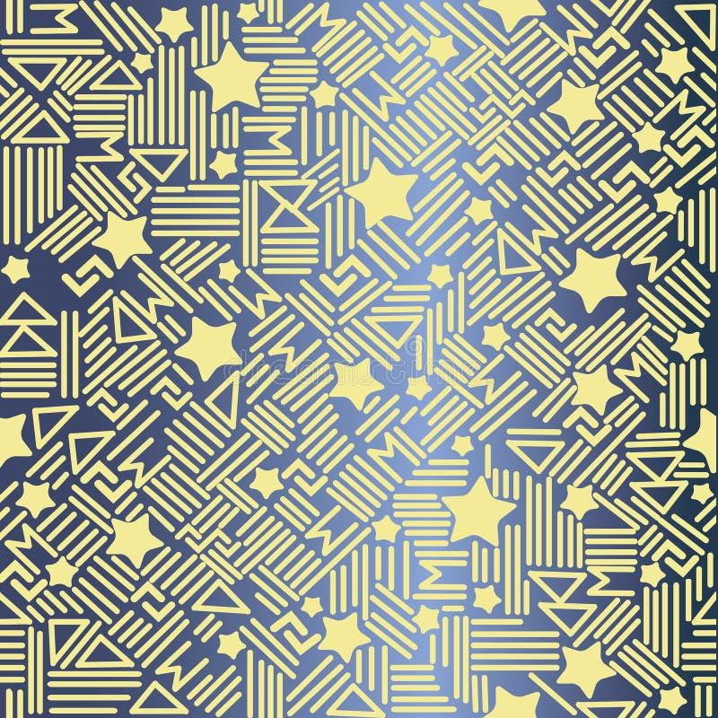 Modelo inconsútil del vector abstracto con las estrellas en una textura elegante moderna del fondo azul con un ideal amarillo de  stock de ilustración