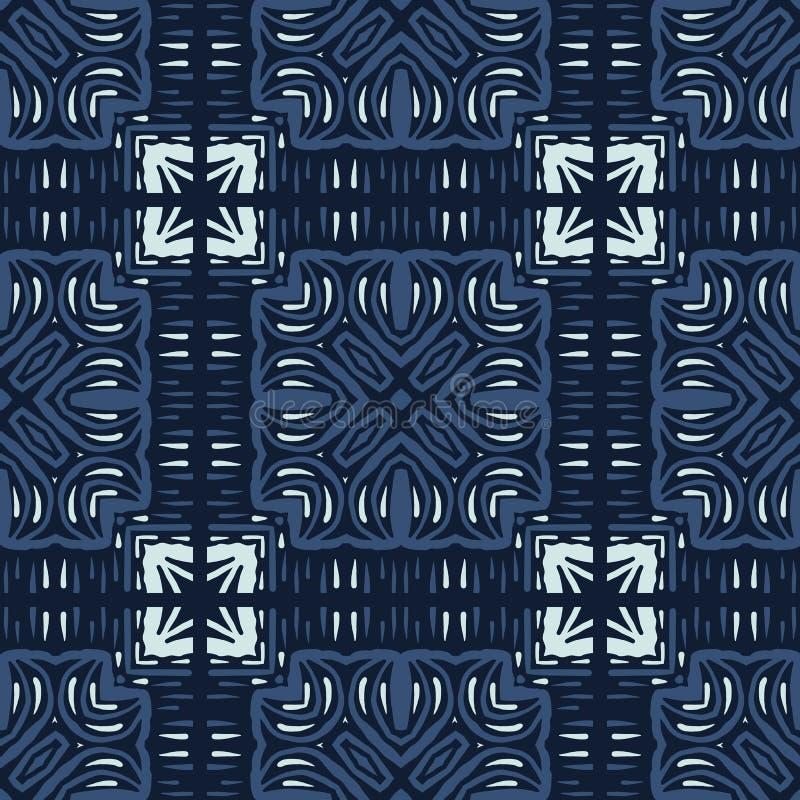 Modelo inconsútil del vector del adorno de la teja de mosaico del remiendo Estilo japonés exhausto de la mano ilustración del vector