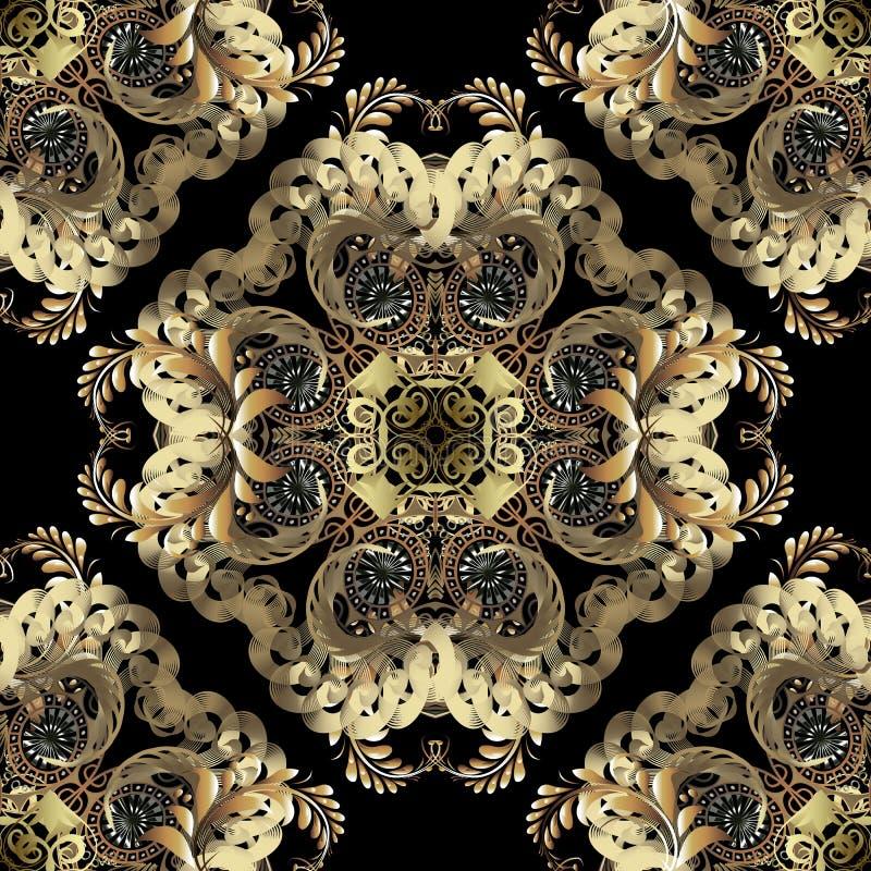 Modelo inconsútil del vector barroco de lujo 3d del oro Fondo ornamental real del damasco de la elegancia Flores árabes de oro de libre illustration