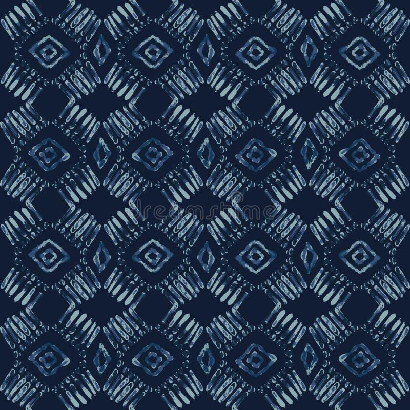 Modelo inconsútil del vector del batik del teñido anudado del añil Azul exhausto del damasco de la mano ilustración del vector