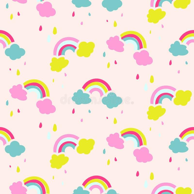 Modelo inconsútil del vector del bebé lindo del arco iris y de las nubes libre illustration