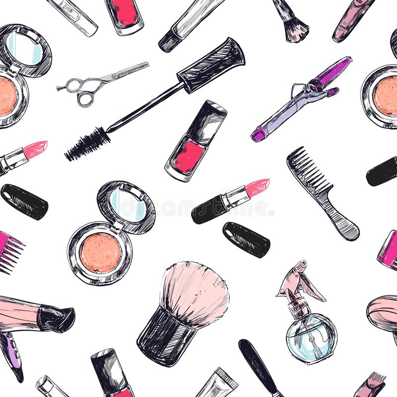 Modelo inconsútil del vector Belleza y tienda cosmética, salón libre illustration