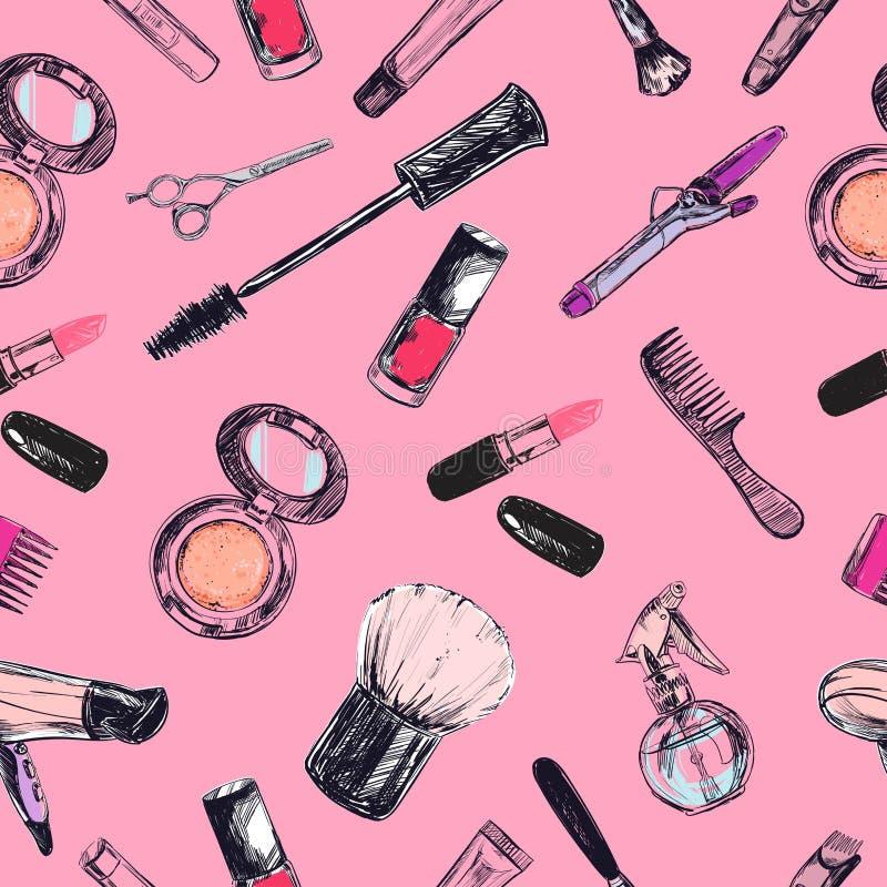 Modelo inconsútil del vector Belleza y tienda cosmética, salón ilustración del vector