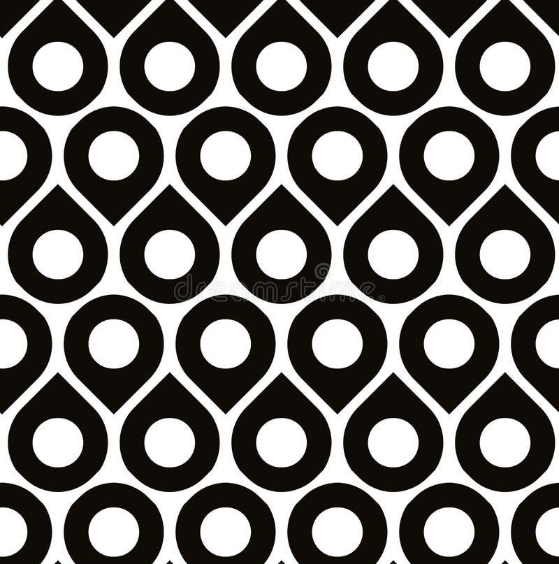 Modelo inconsútil del vector blanco y negro con las gotitas libre illustration