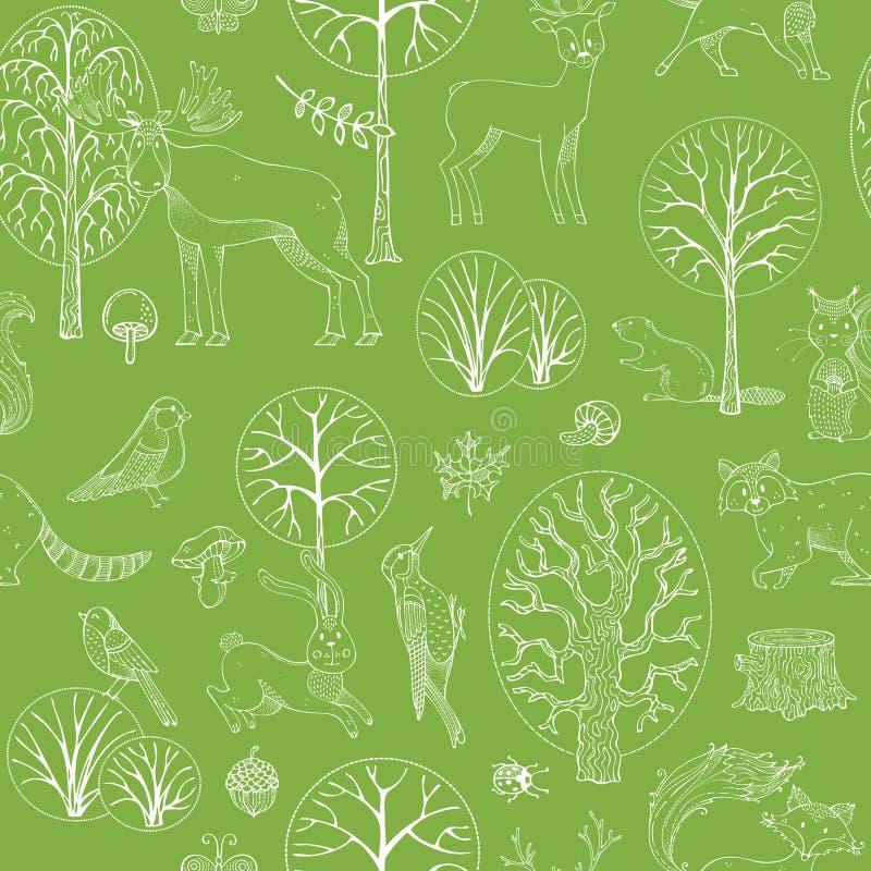Modelo inconsútil del vector del bosque del otoño libre illustration
