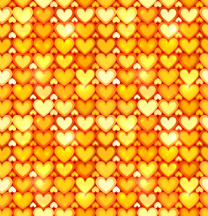 Modelo inconsútil del vector brillante anaranjado de los corazones stock de ilustración