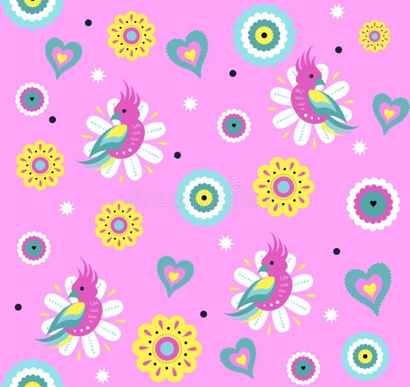 Modelo inconsútil del vector brillante con el loro lindo y las flores tropicales exóticas libre illustration