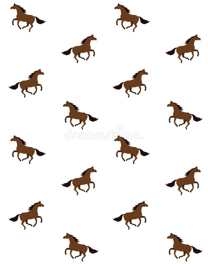 Modelo inconsútil del vector del caballo plano del marrón de la bahía ilustración del vector