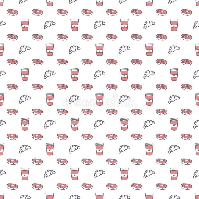 Modelo inconsútil del vector del café y de los dulces Taza de papel a ir, cruasanes y anillos de espuma grises y fondo rosado libre illustration