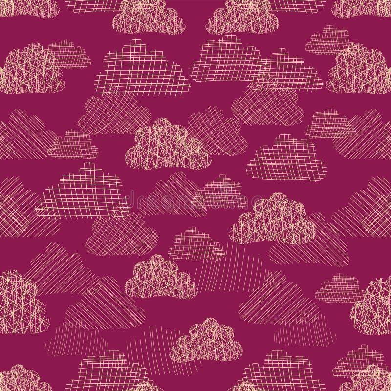 Modelo inconsútil del vector del cielo nublado Siluetas blancas beige de nubes texturizadas en fondo rosado oscuro Cielo lluvioso stock de ilustración