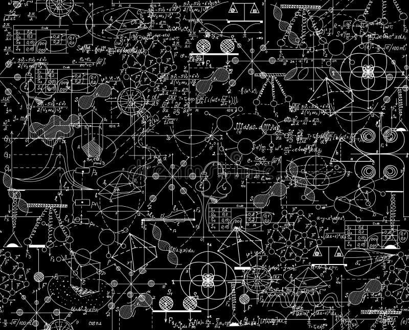 Modelo inconsútil del vector científico con matemáticas y fórmulas físicas, diagramas de la química y esquemas gráficos, mezclado stock de ilustración