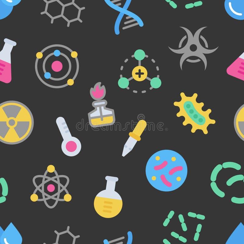 Modelo inconsútil del vector colorido de los detalles de la ciencia de la química en fondo oscuro stock de ilustración