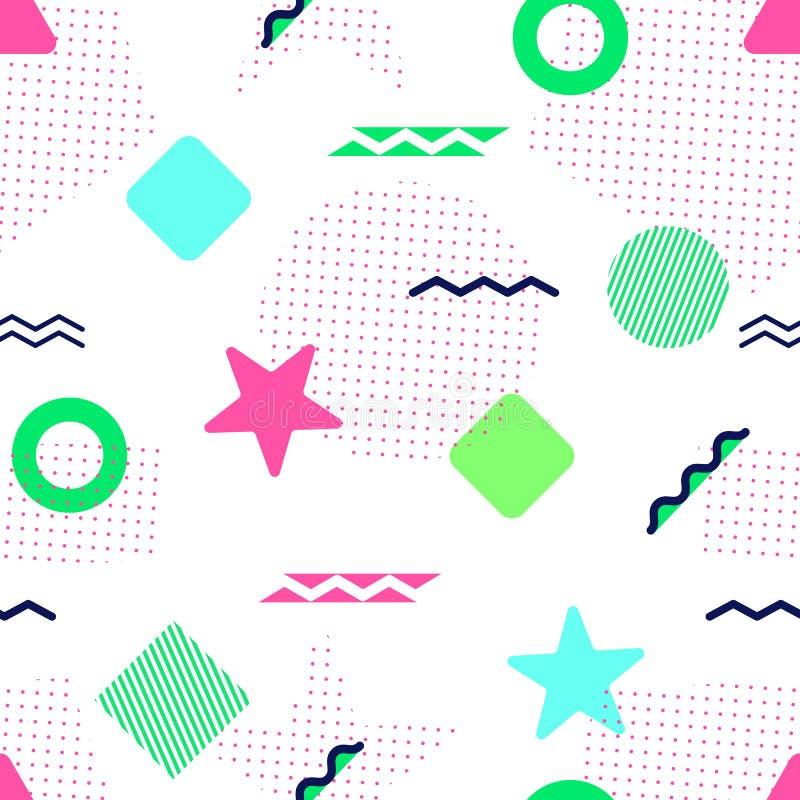 Modelo inconsútil del vector colorido Formas geométricas de Memphis Fondo abstracto en estilo de moda Textura repetida moderna Ro ilustración del vector
