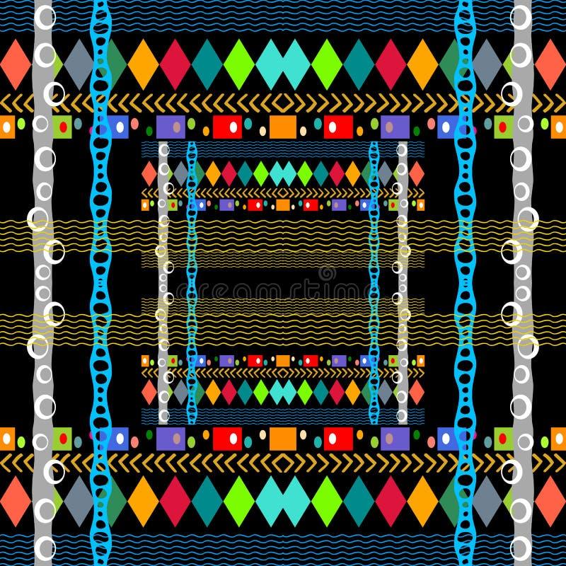 Modelo inconsútil del vector colorido geométrico tribal Fondo ornamental a cuadros de la geometría Contexto abstracto de la repet ilustración del vector