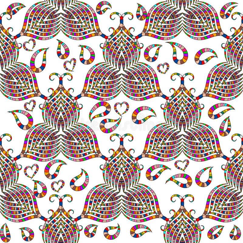 Modelo inconsútil del vector colorido ornamental de Paisley Fondo aislado blanco La mano floral del vintage dibujada adorna con r stock de ilustración