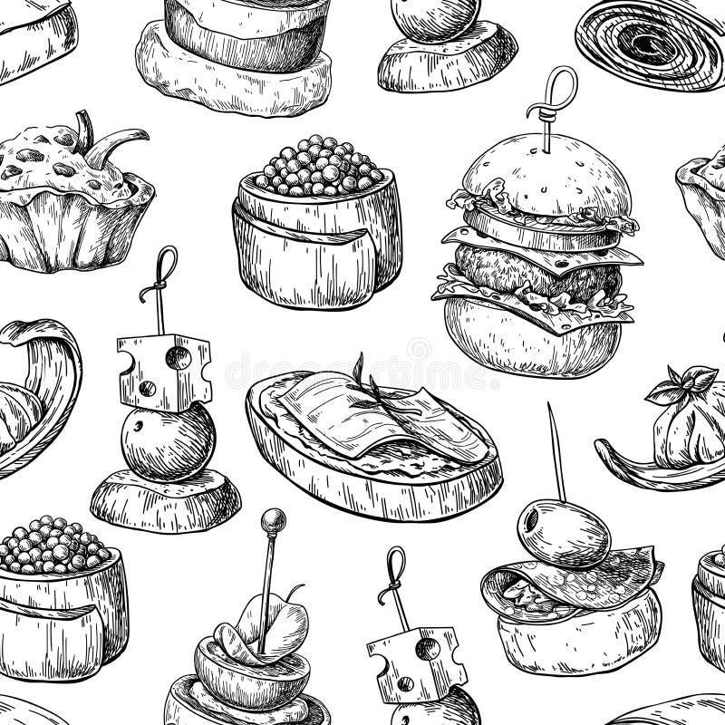 Modelo inconsútil del vector del comida para comer con los dedos Aperitivo y bocado SK de la comida libre illustration