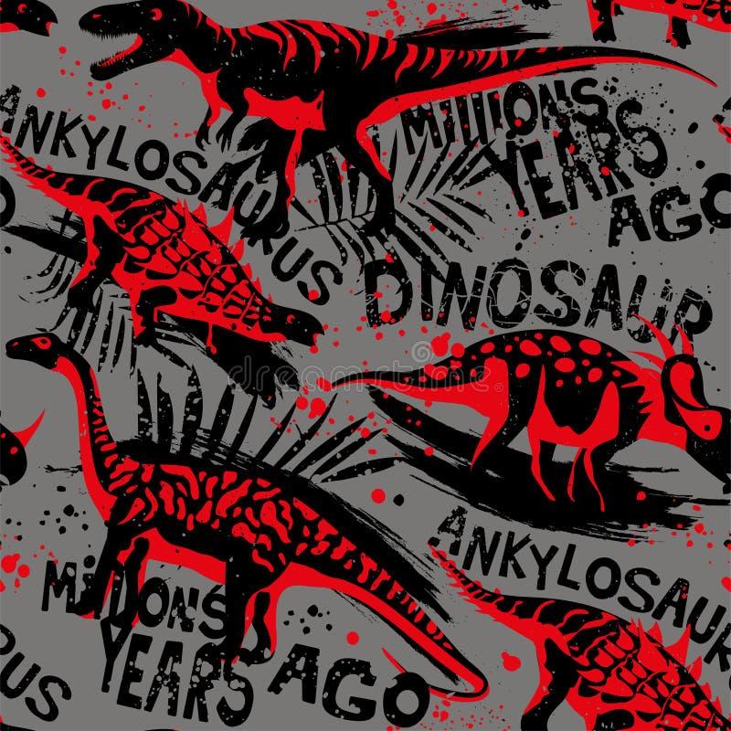 Modelo inconsútil del vector con Dino Para para la tela de los niños, materia textil stock de ilustración