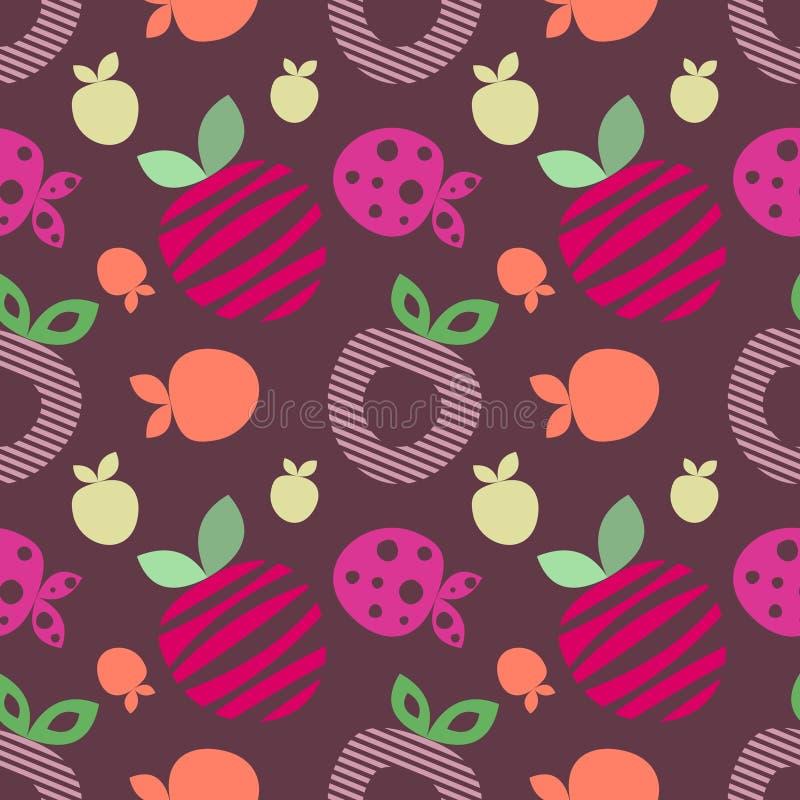 Modelo inconsútil del vector con diversas fresas lindas ornamentales decorativas coloridas en el fondo violeta oscuro ilustración del vector