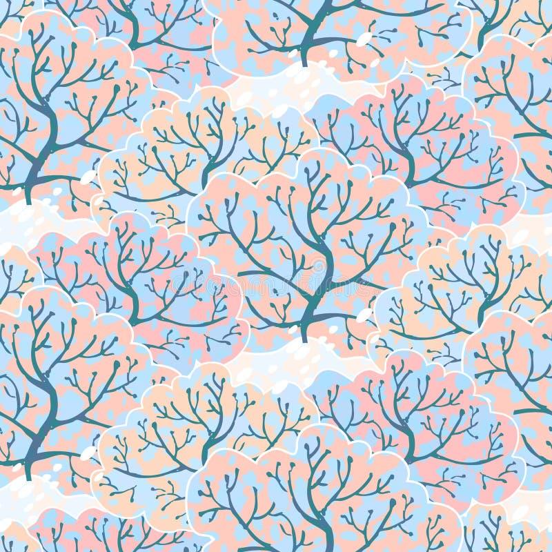 Modelo inconsútil del vector con el bosque del invierno ilustración del vector