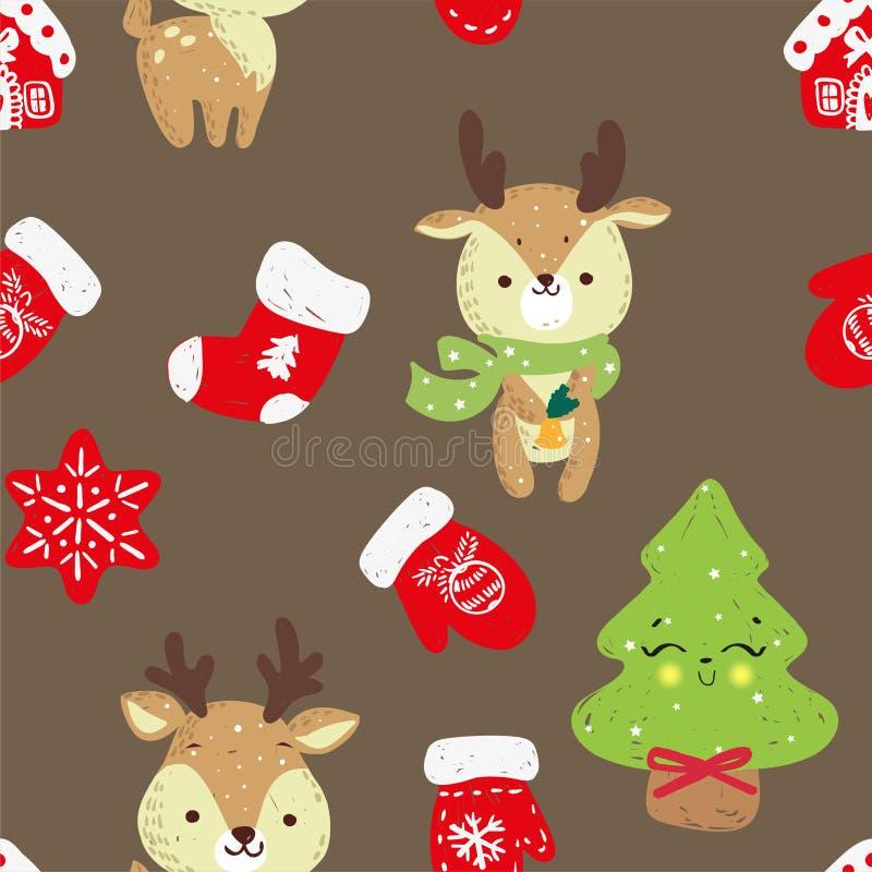 Modelo inconsútil del vector con el bosque dibujado mano de los árboles de navidad del garabato, calcetines stock de ilustración