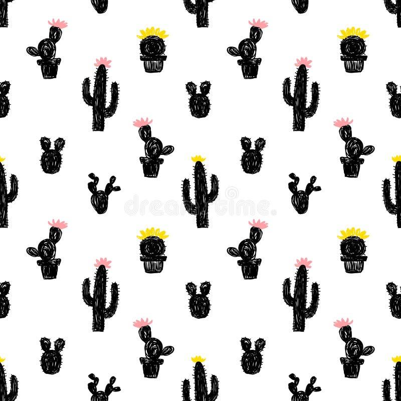 Modelo inconsútil del vector con el cactus suculento stock de ilustración