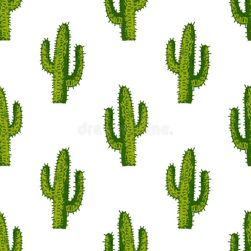 Modelo inconsútil del vector con el cactus suculento ilustración del vector