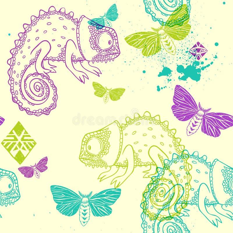 Modelo inconsútil del vector con el camaleón y las mariposas stock de ilustración