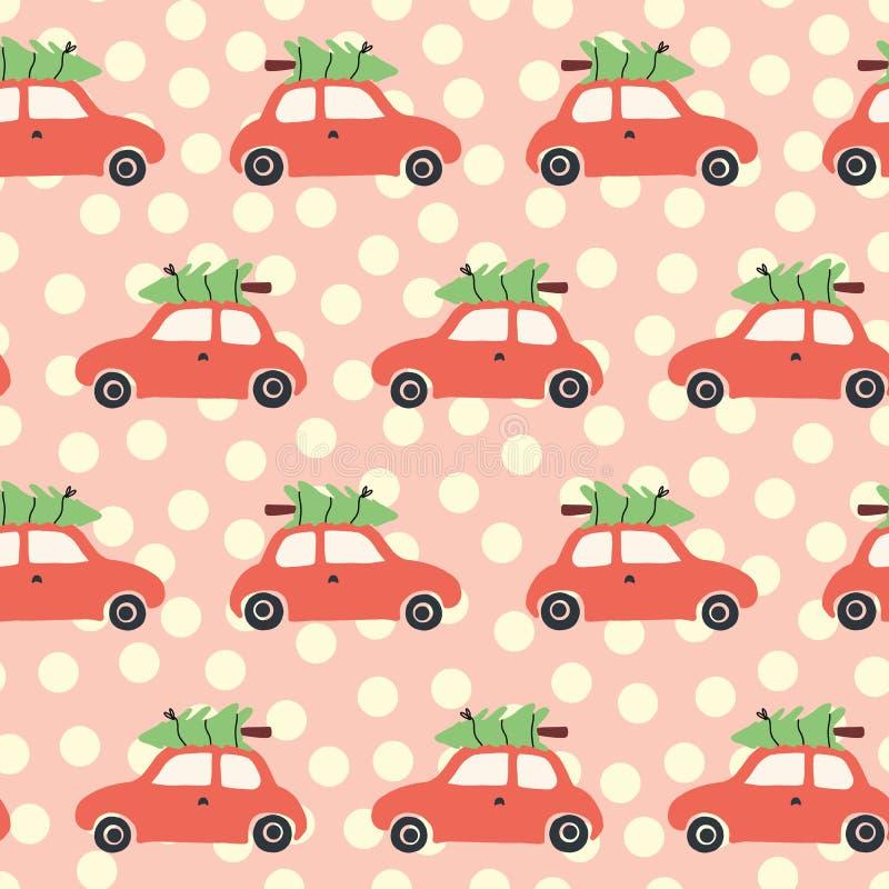 Modelo inconsútil del vector con el coche y el árbol de navidad rojos en el tejado Fondo de la Navidad del vintage con los coches stock de ilustración