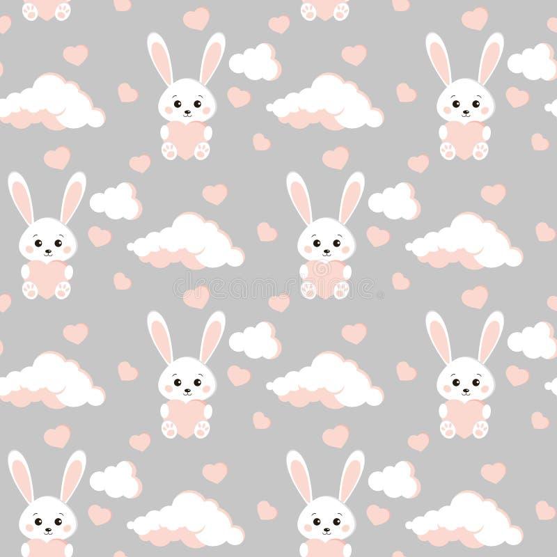 Modelo inconsútil del vector con el conejo blanco del conejito dulce y lindo, nubes, corazones rosados libre illustration