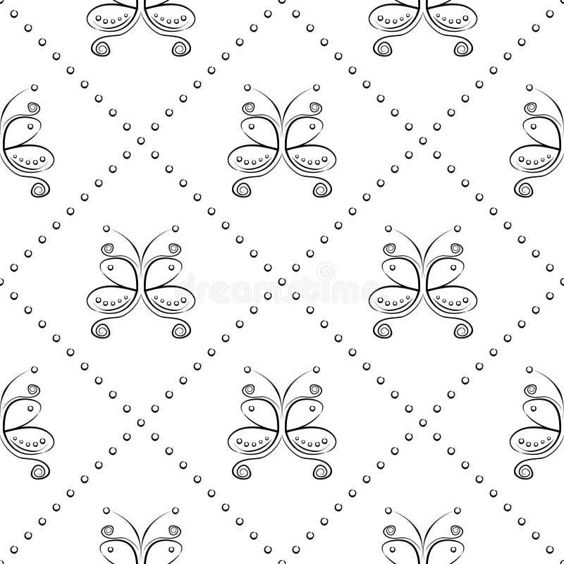 Modelo inconsútil del vector con el insecto Fondo ornamental blanco y negro simétrico decorativo con las mariposas y el Rhombus ilustración del vector