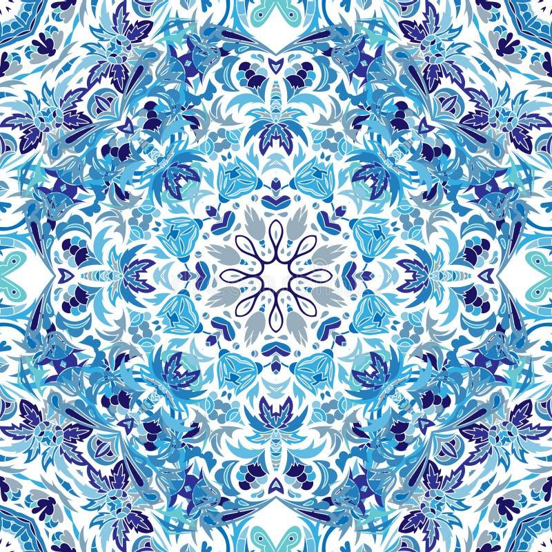 Modelo inconsútil del vector con el ornamento floral brillante Elemento del diseño del vintage en estilo del este Tracery ornamen ilustración del vector