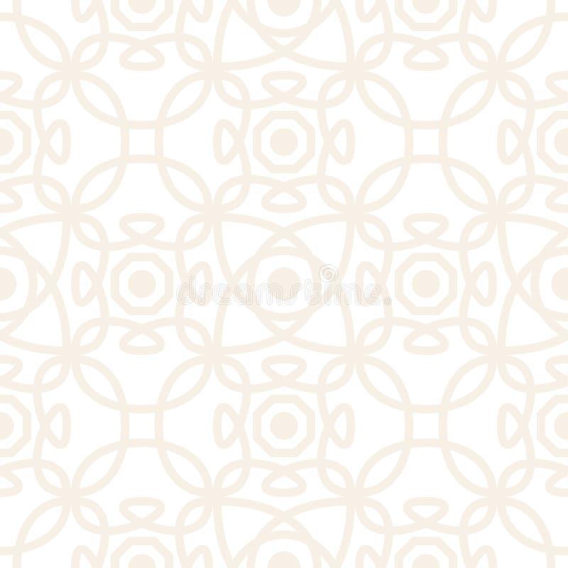 Modelo inconsútil del vector con el ornamento simétrico Líneas redondeadas geométricas sutiles abstractas fondo en color en color ilustración del vector