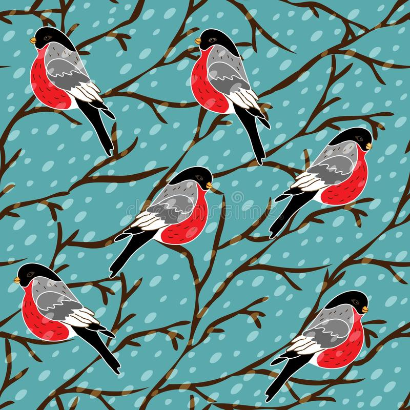 Modelo inconsútil del vector con el pájaro del piñonero stock de ilustración