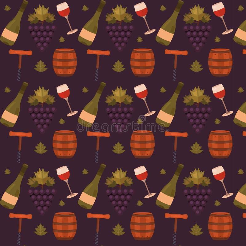 Modelo inconsútil del vector con el vino ilustración del vector