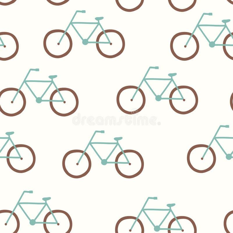 Modelo inconsútil del vector con la bicicleta del vintage stock de ilustración