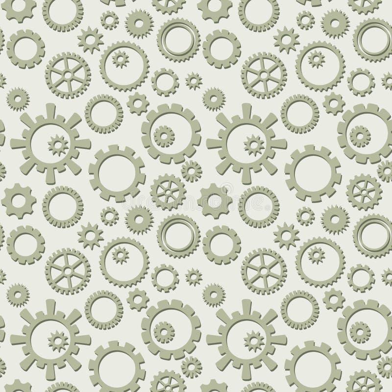 Modelo inconsútil del vector con la colección de engranajes - fondo industrial ligero ilustración del vector