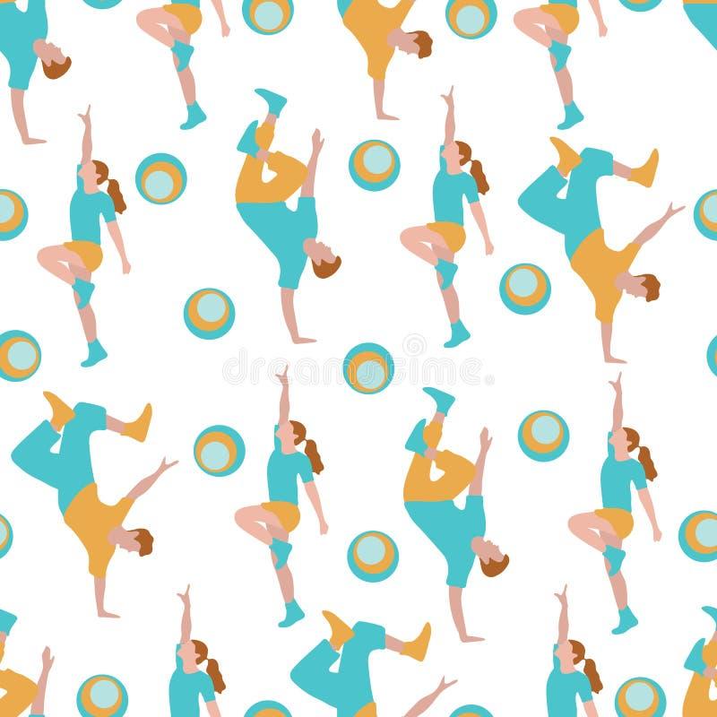 Modelo inconsútil del vector con la gente del baile stock de ilustración