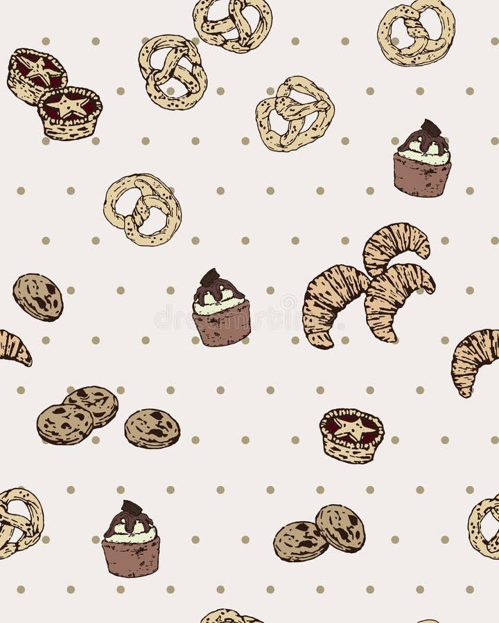 Modelo inconsútil del vector con la panadería dibujada mano en la polca Dot Background Vintage y estilo simple stock de ilustración